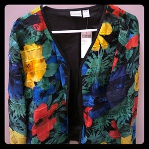 New Chicos Open Front Cardigan Floral 3 XL
